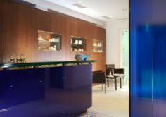 Reception at Petasos Aqua Marine Spa, Mykonos Greece - mkv design. Deep blue design, contemporary spa design