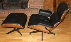 Eames for Herman Miller black leather lounge chair and matching ottoman, quintessential Midcentury Modern design