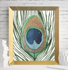 Peacock Feather Watercolor Printable Art peacock feather