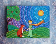 The Little Prince and the Fox Wood Block Print by ElspethMcLean, $18.00