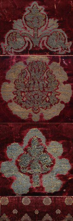 Italian Textiles - Antique Italian Silk Cut Velvet with Silver Brocade  1400 -1500 A.D. Source: TextileAsArt.com