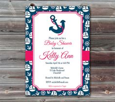 Baby Shower Invitation Nautical Pinstripes by TracyAnnPrintables, $15.00