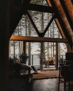 Photo by The Cabin Chronicles™ in Vancouver Island, Canada with and Image may contain: table, plant and indoor via Future House, My House, Cabin In The Woods, Interior Minimalista, Getaway Cabins, A Frame House, Cabins And Cottages, Cozy Cabin, Cabin Homes
