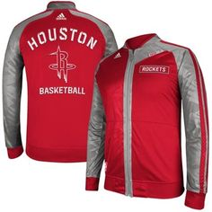 adidas Houston Rockets On-Court Full Zip Track Jacket - Red Gray a6a20a6e6
