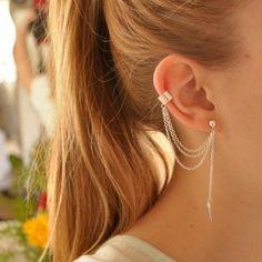 1 조각 펑크 록 스타일 여자 젊은 선물 잎 체인 술 귀걸이, 금속 골드 및 실버 보석 귀걸이 귀 클립 도매