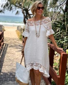 A gorgeous dress is a summer necessity and this cream dress makes Linda feel oh so feminine with it's sheer lace detail and easy relaxed… Simple Dresses, Casual Dresses, Summer Dresses, Boho Fashion, Fashion Outfits, Latest African Fashion Dresses, Linen Dresses, Tunic Dresses, Mode Style