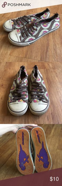 Floral Paisley Sneakers Brown sneakers with a floral paisley-like pattern. No laces--stretchy bands instead. Light wear and tear as they are super comfy! Always worn with socks. Selling because I need more closet space Rocket Dog Shoes Sneakers