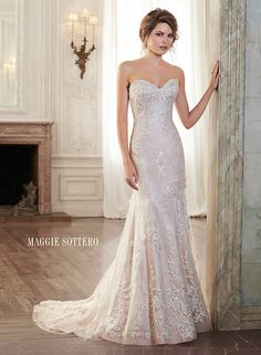 Slim A-line lace wedding dress with classic sweetheart neckline, Holly by Maggie Sottero.