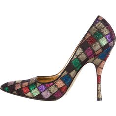 Pre-owned Dolce & Gabbana Metallic Woven Pointed-Toe Pumps ($95) ❤ liked on Polyvore featuring shoes, pumps, metallic, multi colored shoes, black pointed toe pumps, woven shoes, pointy-toe pumps and metallic shoes