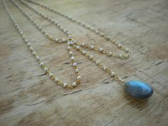 'Victorian' Seed Pearl Vermeil Necklace with Faceted Labradorite Pear Drop