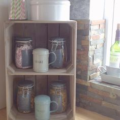 Wooden crates with an internal shelf make great kitchen storage. Perfect for farmhouse and shabby chic style kitchens. Shabby Chic Style, Rustic Chic, Kitchen Styling, Kitchen Storage, Wooden Apple Crates, Storage Solutions, Shelf, Kitchens, Farmhouse