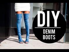 DIY JEAN/ DENIM CHOKER | FACEOVERMATTER - YouTube Diy Jean Boots, Denim Boots, Jeans And Boots, Jeans With Heels, Bota Jeans, Jean Choker, Shoe Refashion, Diy Choker, Diy Fashion