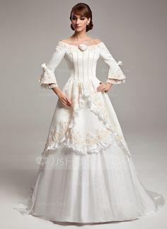 A-Line/Princess Off-the-Shoulder Sweep Train Satin Taffeta Wedding Dress With Lace Beading Flower http://www.jjshouse.com/A-Line-Princess-Off-The-Shoulder-Sweep-Train-Satin-Taffeta-Wedding-Dress-With-Lace-Beading-Flower-S-002017530-g17530