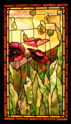 This is a beautiful stained glass window capturing nature.
