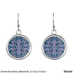 Curves & Lotuses, abstract floral, lavender & blue Earrings