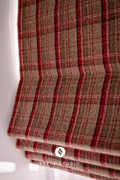Elgin Cranberry Roman blinds by Style Studio. Tartan home decor. Tartan checked roman blinds