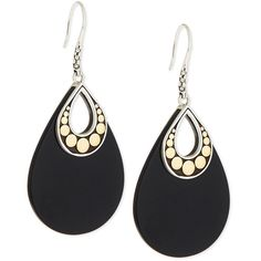 John Hardy Dot Carved Black Onyx Drop Earrings (1,010 CAD) ❤ liked on Polyvore featuring jewelry, earrings, silver, dot earrings, polka dot jewelry, 18k earrings, 18k jewelry and chain jewelry