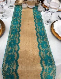 Burlap Table Runner With Teal/Jade Lace, X Wide, Peacock Wedding… Teal Wedding Decorations, Burlap Table Decorations, Peacock Wedding Centerpieces, Farewell Decorations, Wedding Cake Rustic, Wedding Table, Diy Wedding, Wedding Ideas, Wedding Cakes