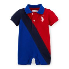 Banner-Striped Cotton Shortall - One-Pieces  Baby - RalphLauren.com