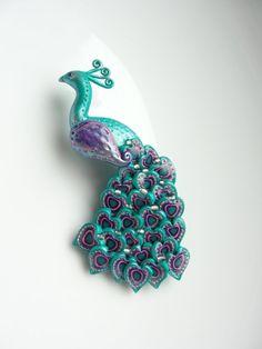 Polymer clay peacock brooch - by fizzyclaret