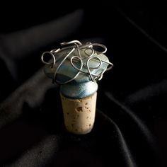 Whimsical Bottle Cork- Blue & Gold - Etsy artalaKat $9.50