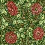 Morris Meadows Michele Hill Liberty Arts and Crafts Border Stripe Flower Green Floral garden cotton fabric Quilt Fabric AB0093