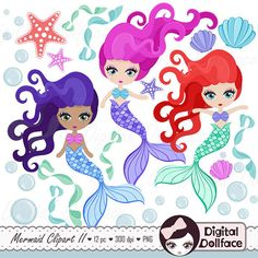 Hey, I found this really awesome Etsy listing at https://www.etsy.com/listing/220451016/cute-mermaid-clipart-mermaid-party