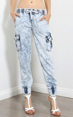 Pocket Acid Wash Denim Joggers