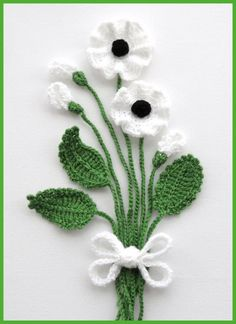 Crochet Applique Poppy Flowers and Leaves Set by CraftsbySigita, I would love to create a wall design using this pattern. Inspirationsl only Hand Crochet Appliques Poppy flowers and leaves crocheted using Acrylic yarn. MADE TO ORDER Large flowers measures Poppy Crochet, Crochet Puff Flower, Crochet Leaves, Knitted Flowers, Crochet Flower Patterns, Crochet Designs, Appliques Au Crochet, Crochet Motif, Irish Crochet