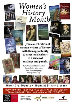 Now in its second year, this Women's History Month event celebrates local writers and readers of historical fiction with panel discussions, book sales and signings.  Refreshments included.