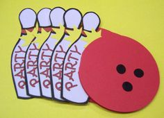 Set of 10- Bowling Party Invitations versions for Boys or Girls - handmade card. $15.00, via Etsy.
