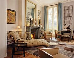 Architectural Digest did a feature on Paris apartments, here are a few of the loveliest pictures! Interior Design Living Room, Living Design, Home And Living, Apartment Living, Home Living Room, French Interior Design, Interior Design, House Interior, Paris Apartments