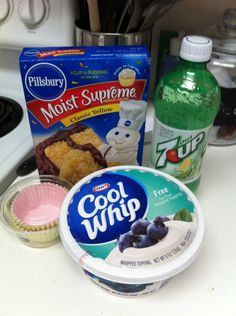 Diet soda cupcakes! Box cake mix, 12 oz diet soda and bake, Top with cool whip! Endless possibilities:     yellow or white cake   cream soda, orange soda, root beer, lemon lime soda    Chocolate cake  Cherry coke, Dr. pepper, cream soda    Red velvet cake cream soda