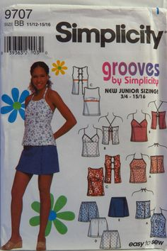 Simplicity 9707 Juniors' Tops, Shorts and Skort