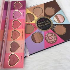 Blush & Bonzer Overload .. Too Face coming through with these palettes! With a shade for every mood, skin tone and look your checks will definitely be on point .. @toofaced - Love Flush Blush Wardrobe & The Little Black Book of Bronzers .. I purchased these products from @meccamaxima