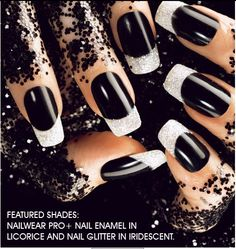 Black nails with sparkle tips