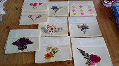 Set of Nine Blank Recycled Paper Cards Decorated by FlowerFelicity, $19.99