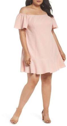 a5a8789fab0 Vince Camuto Kors Off the Shoulder Crepe Dress - Plus Size Fashion Plus  Size Fashion For