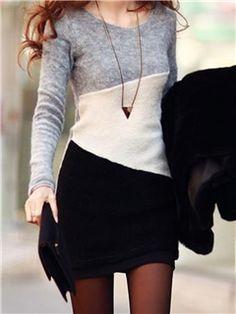 color de contraste vestido tubo de algodón cuello redondo manga larga