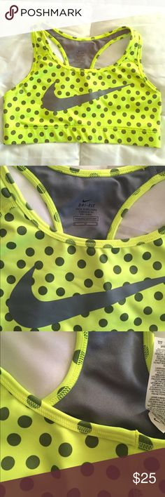 NIKE neon gray poke a dots sport bra size M NIKE neon gray poke a dots sports bra size M. Like NEW CONDITION...see all pictures for reference Nike Intimates & Sleepwear Bras