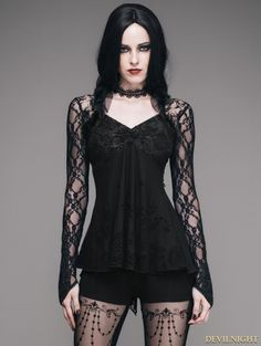 Black Romantic Gothic Lace Shirt for Women - Devilnight.co.uk