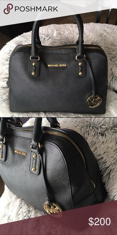 MK Purse AUTHENTIC Super cute Michael Kors large black bowling bag with Gold hardware. MAKE ME AN OFFER!! Michael Kors Bags