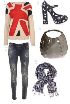 1. Topshop Union Jack Sweater  2. Miu Miu Sparrow Heels  3. Ripped Skinny Jeans  4. Armani Exchange Tassel Hobo  5. H & M Scarf