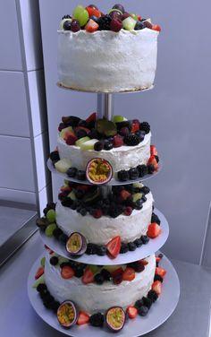 Weding naked cake with fresh fruits
