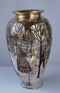 This has the preciousness of a well-traveled Russian antique. Glazed in golds, silvers and whites, Perry's urn tells a Gothic tale of a child's death in a gloomy small town. The image is timeless: it could be yesterday or eighty years ago; but almost certainly it has to be Eastern European – nowhere else could such horrific grief be met with such fairy-tale romanticism.