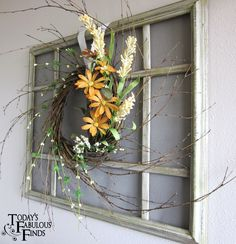 Turn a large picture frame into a faux-screen window with trim pieces and screening, paint and distress - very nice look! by Today's Fabulous Finds