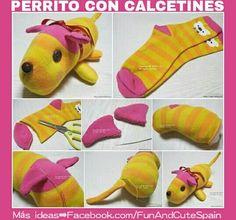 Perrito realizado con calcetines reciclados. ¿Qué os parece? 💖🐶🐕 🐻 Más ideas ➡ YouTube https://www.youtube.com/channel/UC_tmePzANQVtCMWUzinpEdA -- #manualidades #diy #reciclaje #ropa #perros #dogs #pets #toys #juguetes #juego #game