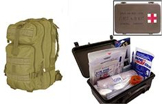 Ultimate Arms Gear Level 3 Assault MOLLE Tan Backpack Kit  First Aid Trauma Kit General Purpose in Waterproof Carrying Storage Case USA MADE Fully Stocked 58Piece Kit *** Check out the image by visiting the link.-It is an affiliate link to Amazon. #CampingSafetyandSurvivalEquipments