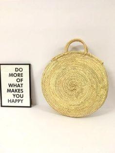 ROUND PALM BAG/ Palm basket// French style purse//Playful