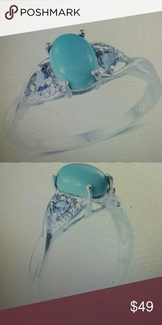 Turquoise Ring Sonoran blue turquoise oval and tanzanite ring platinum over sterling silver Jewelry Rings